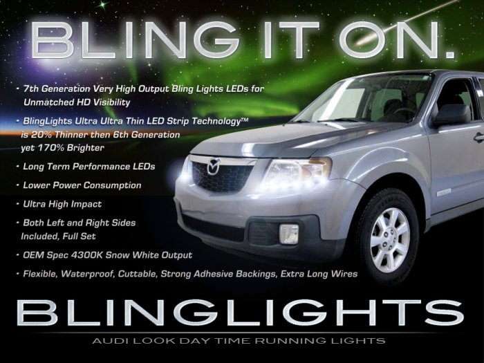 Mazda Tribute LED DRL Head Lamp Light Strips Kit Day Time Running