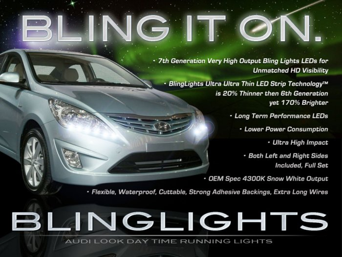 2012 2013 2014 Hyundai Verna LED DRL Light Strips for Headlamps Headlights Day Time Running Lamps