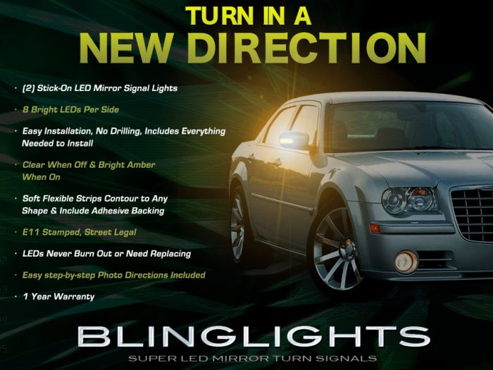 Chrysler 300 300C LED Mirror Lights Turn Signal Lamp Set Kit Pair