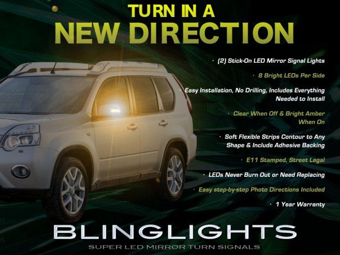 Nissan X-Trail Xtrail LED Side Mirrors Turnsignals Lights Mirror Turn Signals Lamps Signalers