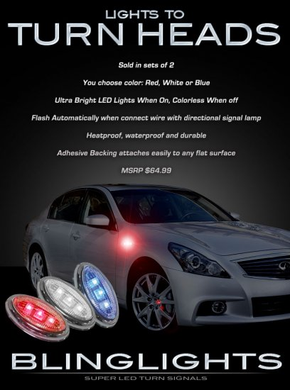 Infiniti G G20 G25 G35 G37 LED Side Accent Markers Turnsignals Turn Signals Signalers Lights Lamps