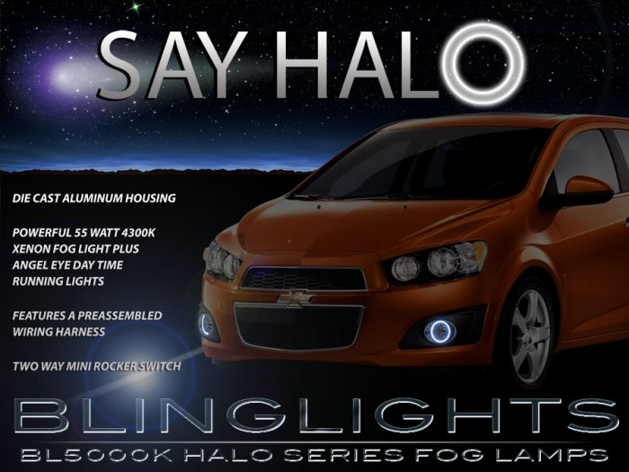 2012-2016 Chevrolet Sonic Angel Eye Driving Lights Halo Fog Lamps (non-RS) Kit