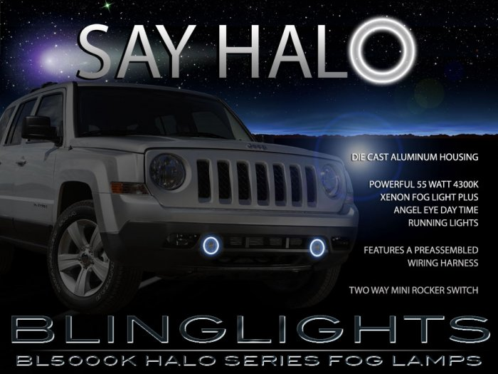 2011-2017 Jeep Patriot Halo Fog Lamp Driving Light Kit Angel Eyes