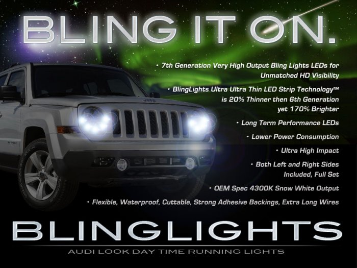 Jeep Patriot LED DRL Head Light Strips DayTime Running Lamps Kit
