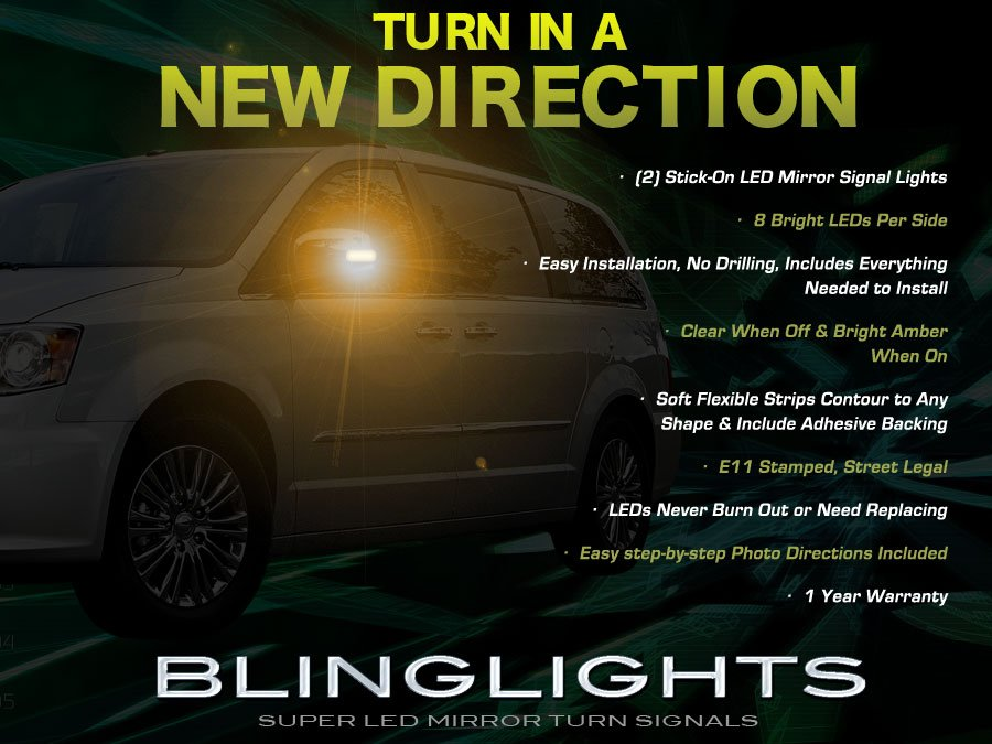 Chrysler Town & and Country Side LED Mirror Turnsignals Turn Signals Mirrors Signalers Lights Lamps