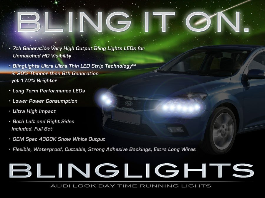 Kia Pro Cee'd Ceed LED DRL Light Strips for Headlamps Headlights Head Lamps Day Time Running Lights