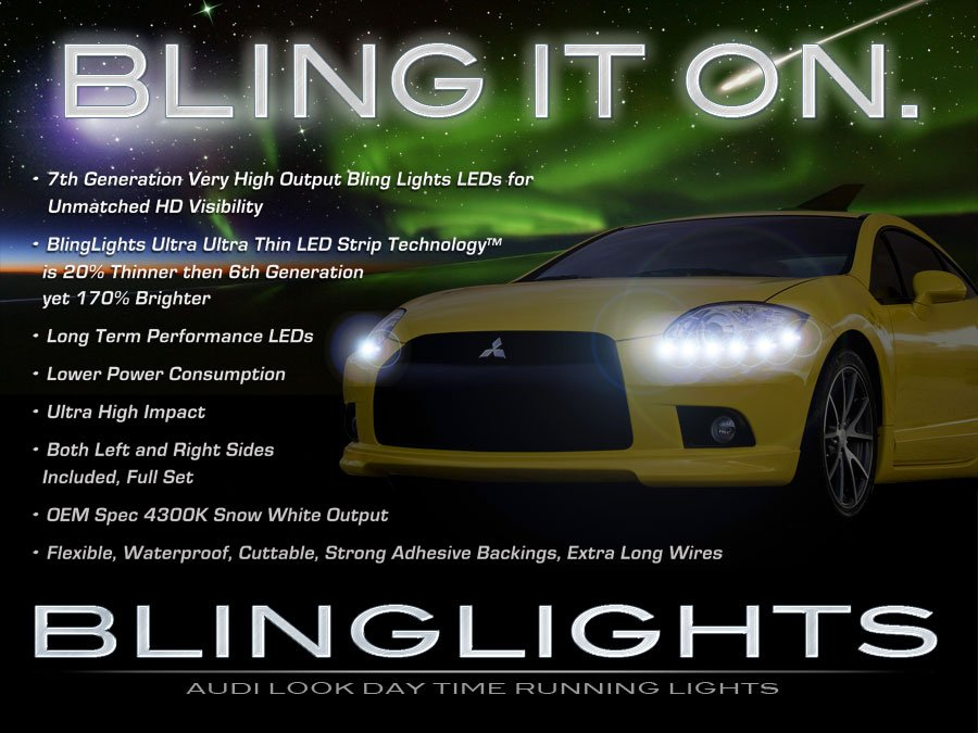 Mitsubishi Eclipse LED DRL Head Light Strips Daytime Running Lamps Kits