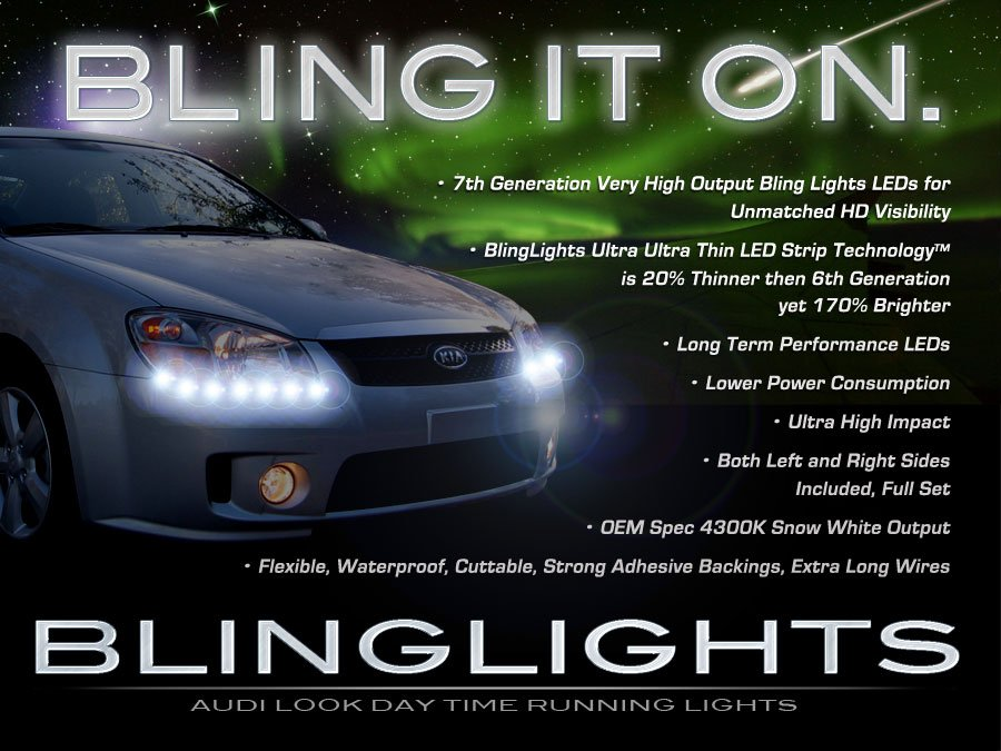 Kia Spectra Spectra5 LED DRL Strip Lights for Head Lamps Headlamps Headlights LEDs DRLs Strips