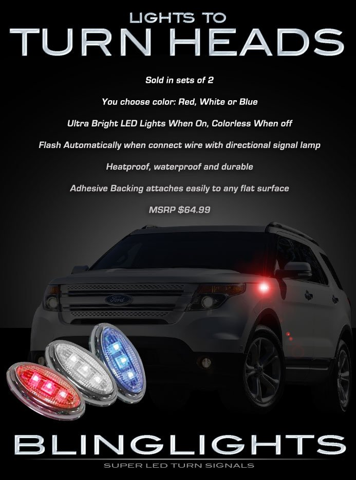 Ford Explorer LED Side Accent Marker Turnsignals Lights Turn Signals Signalers LEDs Accents Markers