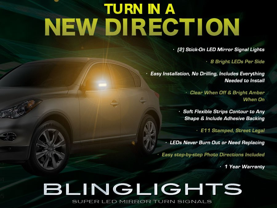 Infiniti EX35 LED Side View Mirror Turnsignals Lights Turn Signals Lamps Mirrors Signalers Accents