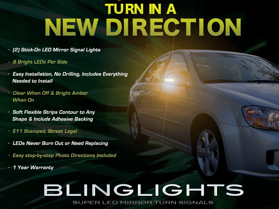 Kia Spectra Spectra5 LED Side Mirror Turnsignals LEDs Mirrors Turn Signals Lights Signalers Lamps