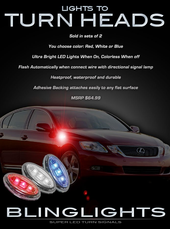 Lexus GS LED Side Marker Turnsignal Turn Signal Lights Lamps GS300 GS350 GS400 GS430 GS450h GS460