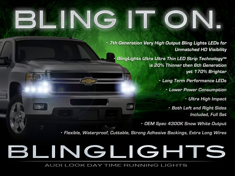 Chevy Silverado LED DRL Head Light Strips Day Time Running Lamp Kit