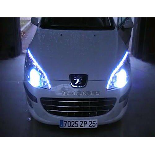 Peugeot 407 LED Strip Lights for Headlamps Headlights Head Lamps DRLs Strips saloon coupé estate
