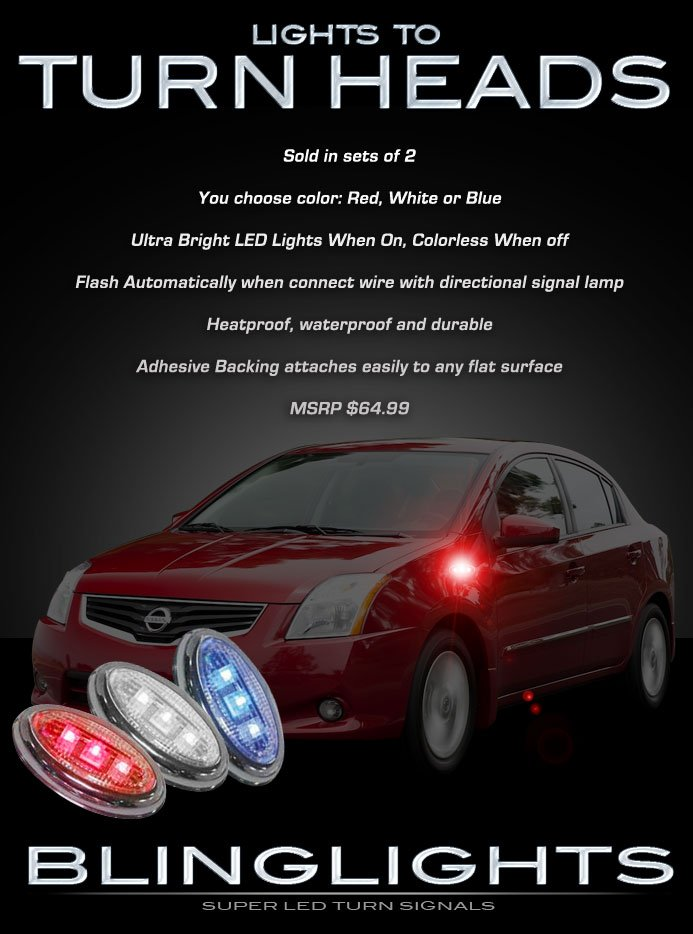 Nissan Sentra LED Side Markers Turnsignals Accent Lights Turn Signals Lamps Signalers