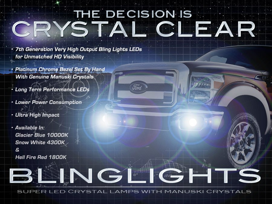 2011 2012 2013 Ford F-550 Super Duty LED Foglamps Driving Fog Lamps Lights F550 Foglights Kit