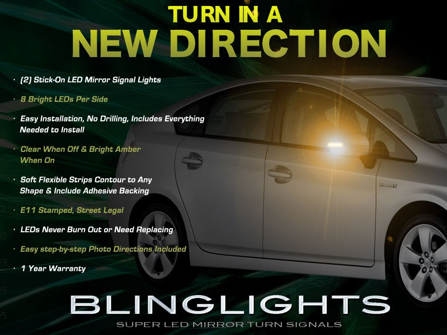 Toyota Prius LED Mirrors Turnsignals Lights Side Mirror Turn Signals Lamps Signalers