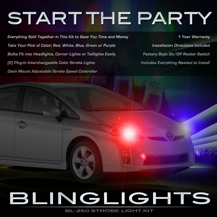 Toyota Prius Strobe Police Light Kit for Headlamps Headlights Head Lamps Strobes Lights
