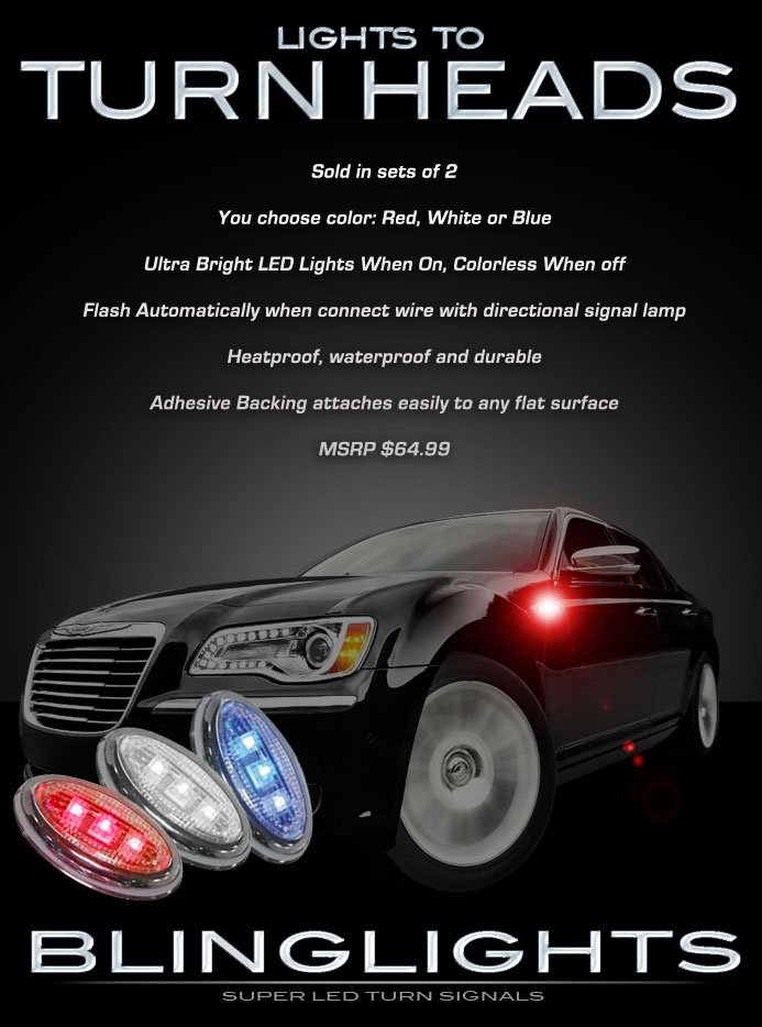 Chrysler 300 300C LED Side Markers Turnsignals Lights Turn Signals Accents LEDs Signalers Lamps
