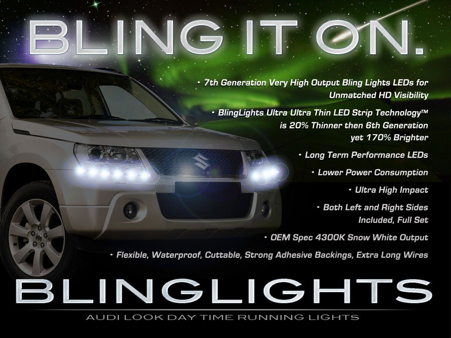 Suzuki XL-7 XL7 LED DRL Light Strips Headlamps Headlights Head Lamps Strip Day Time Running Lights