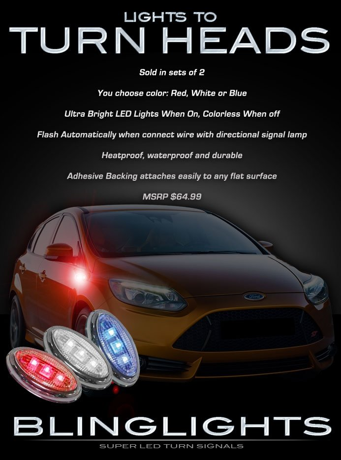 Ford Focus LED Side Markers Turnsignals Lights Accents Turn Signals Lamps LEDs Signalers Set
