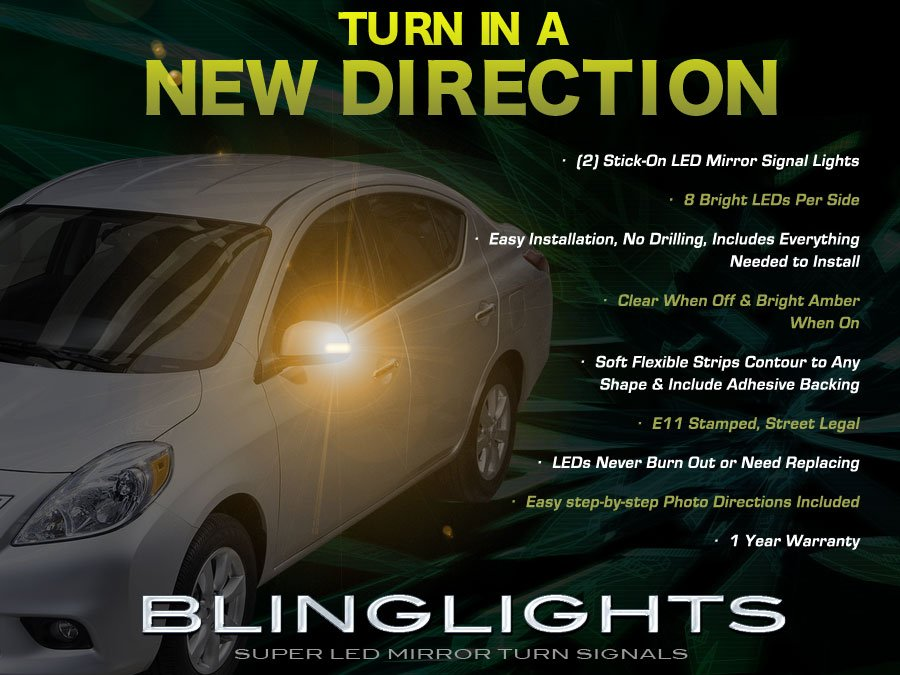 Nissan Versa Tiida LED Side View Mirror Turnsignal Lights Turn Signal Accent Mirrors Signalers Lamps