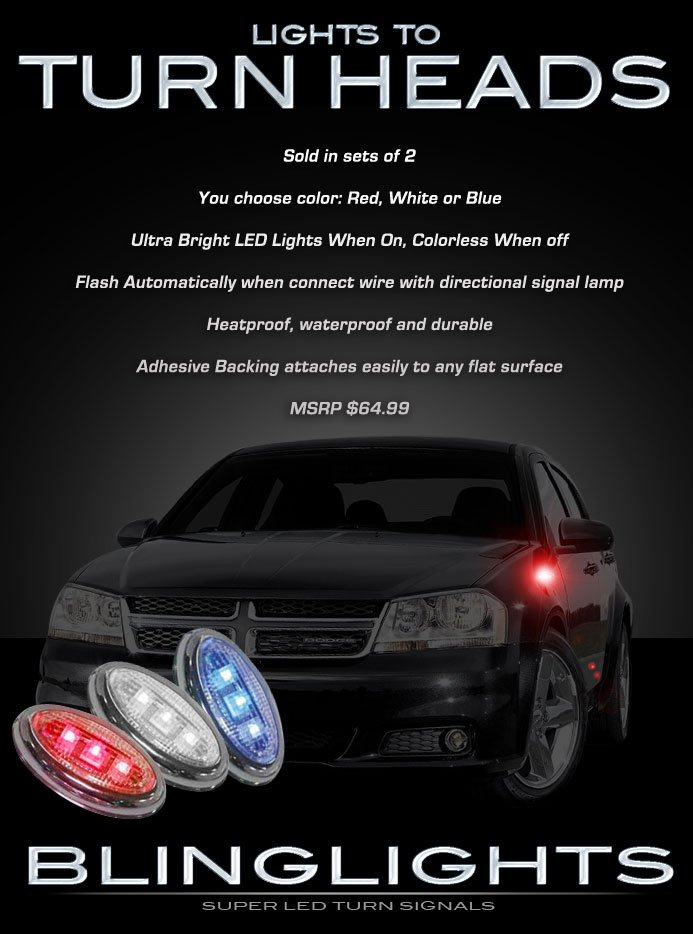 Dodge Avenger Side LEDs Turnsignals Markers Lights Turn Signals Accents Lamps LED Signalers