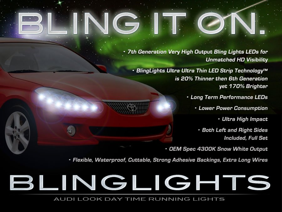 Toyota Camry Solara LED Head Light Strips DRL Lamp Kit Day Time Running