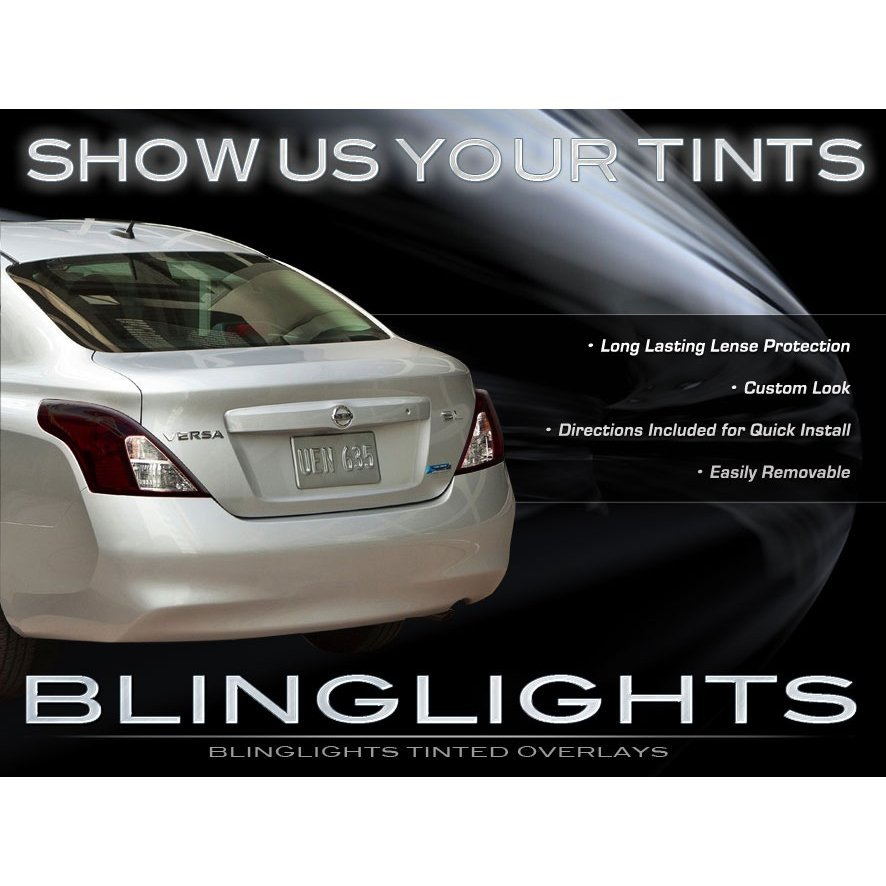 2012 2013 Nissan Tiida Latio Tint Smoke Overlays for Taillamps Taillights Tail Lamps Lights
