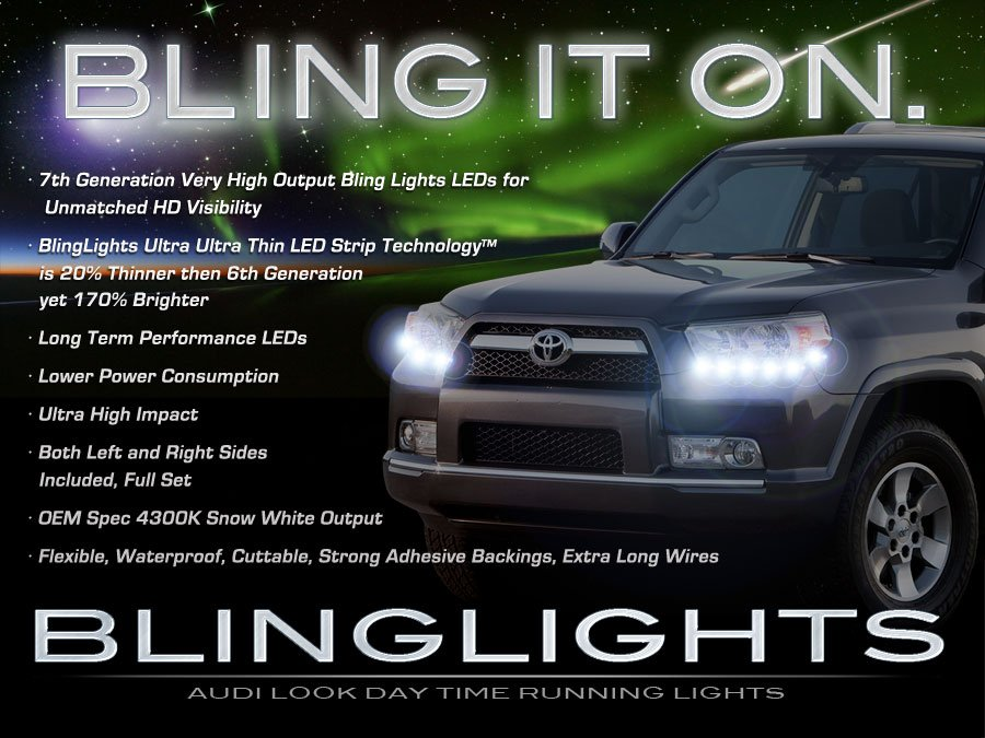 Toyota 4Runner LED DRL Head Lamp Light Strips Kit Day Time Running