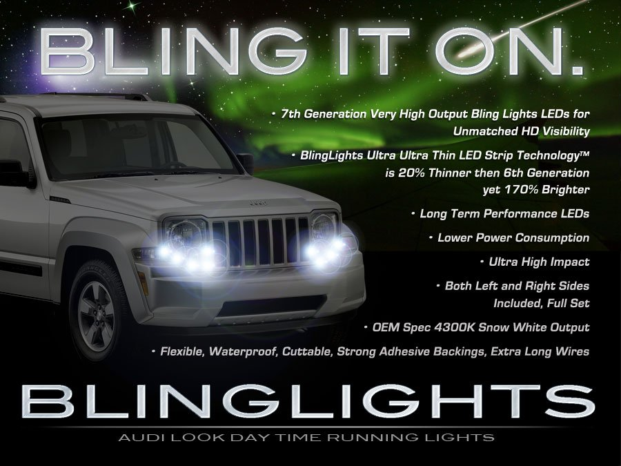Jeep Liberty LED DRL Head Lamp Light Strips Kit Day Time Running