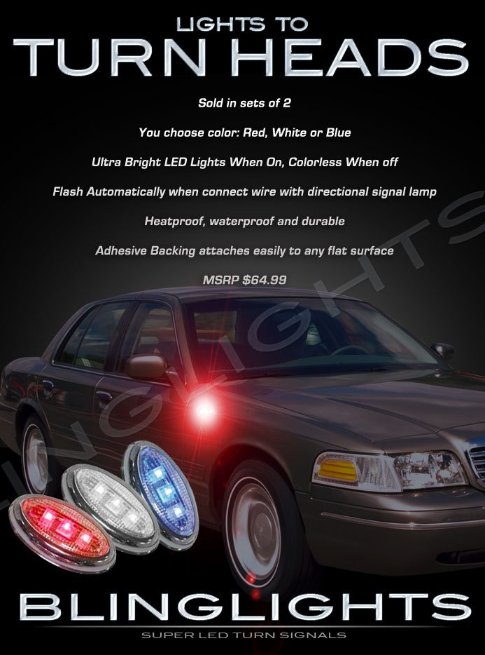 Ford Crown Victoria LED Side Marker Turnsignal Accent Lights Turn Signal Lamps Signaler LEDs Markers
