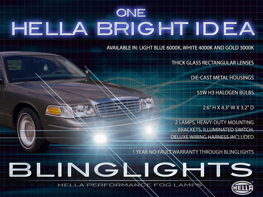 1998-2011 Ford Crown Victoria Xenon Fog Lamps Driving Lights Foglamps Foglights Light Lamp Kit