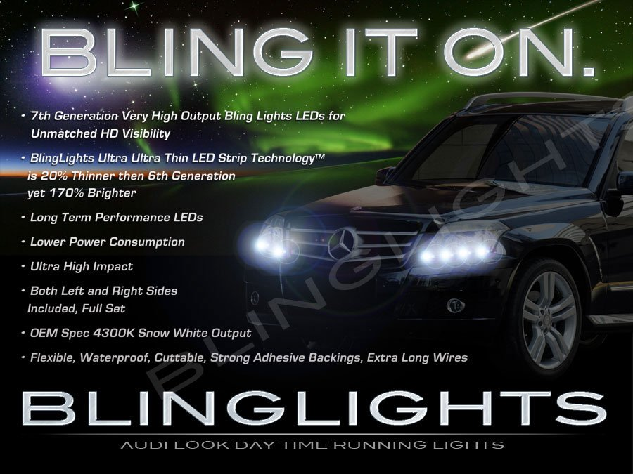 Mercedes-Benz GLK 350 GLK350 LED DRL Strips for Headlamps Headlights Head Lamps DRLs Strip Lights