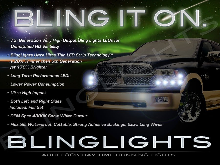 2009-2012 Dodge Ram LED DRL Head Light Strips Day Time Running Lamp Kit