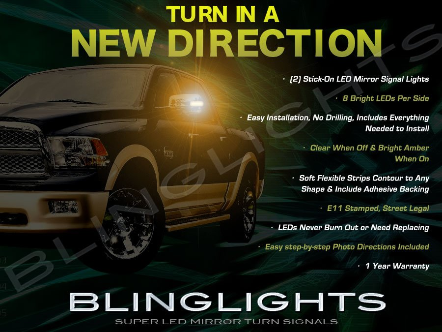 Dodge Ram LED Side Mirror Lights Turn Signal Lamp Set Kit Pair