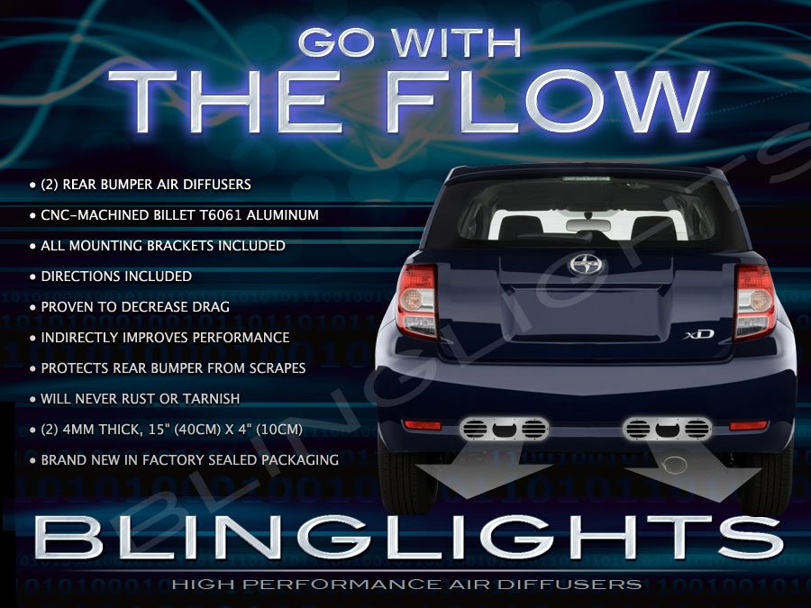 2008 2009 2010 2011 2012 Scion xD Rear Bumper Air Diffuser Performance Body Panels Kit Exhaust Vents