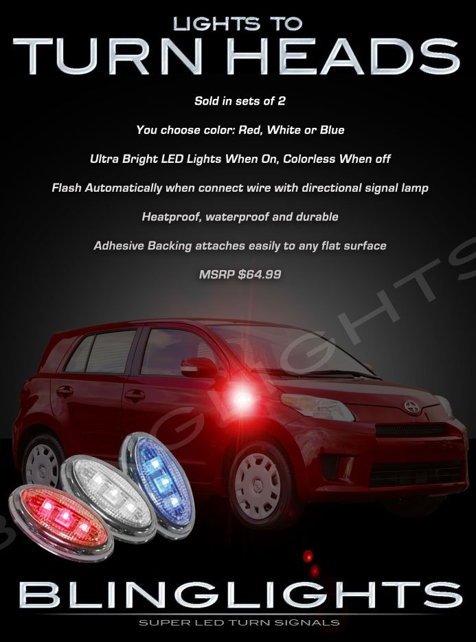 2008-2012 Scion xD LED Side Markers Accents Turnsignals Lights Turn Signals Lamps Signalers