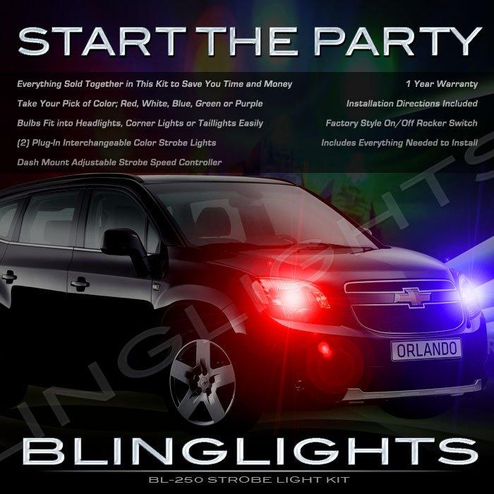 Chevrolet Chevy Orlando Strobe Police Light Kit for Headlamps Headlights Head Lamps Lights Strobes