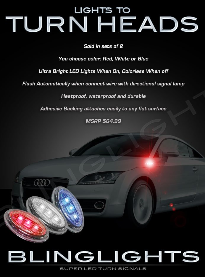 Audi TT LED Side Markers Turnsignals Accents Lights Turn Signals Lamps Signalers Marker Blinkers