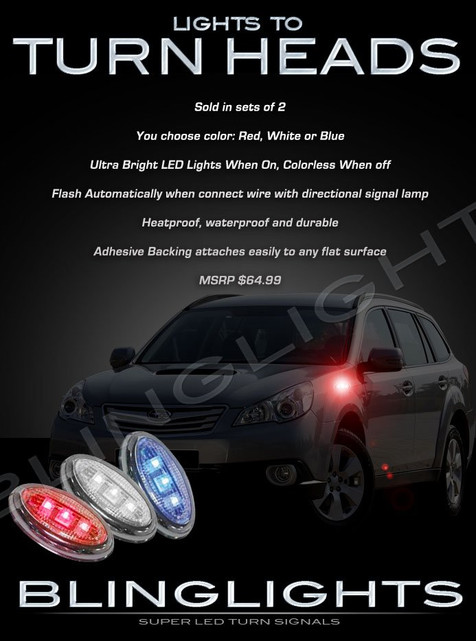 Subaru Outback LED Side Markers Turnsignals Accents Lamps Turn Signals Blinkers Lights Signalers