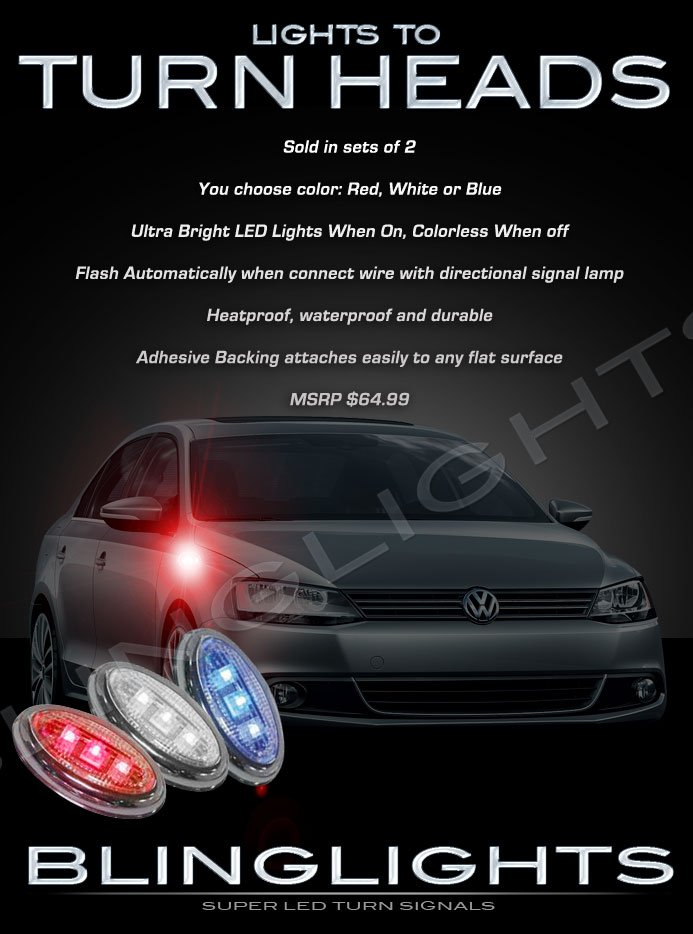 Volkswagen VW Jetta LED Side Marker Turnsignal Lights Accent Turn Signal Lamps Signalers Markers