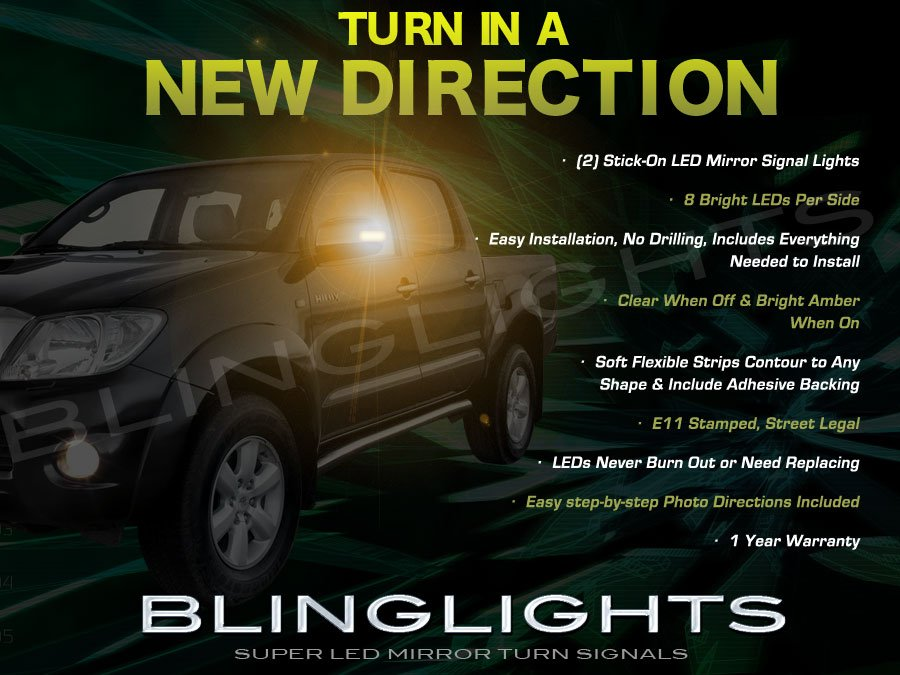 Toyota Hilux LED Side View Mirror Turn Signals Lights addon Blinkers