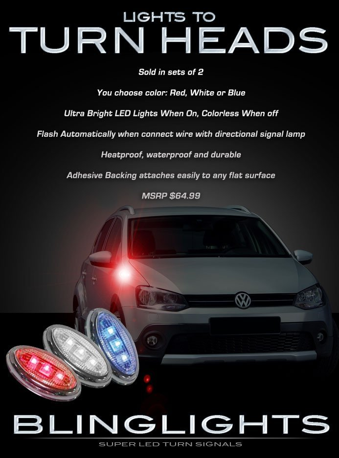 Volkswagen VW Polo LED Side Marker Turnsignal Lights Accent Turn Signal Lamps Signalers Markers