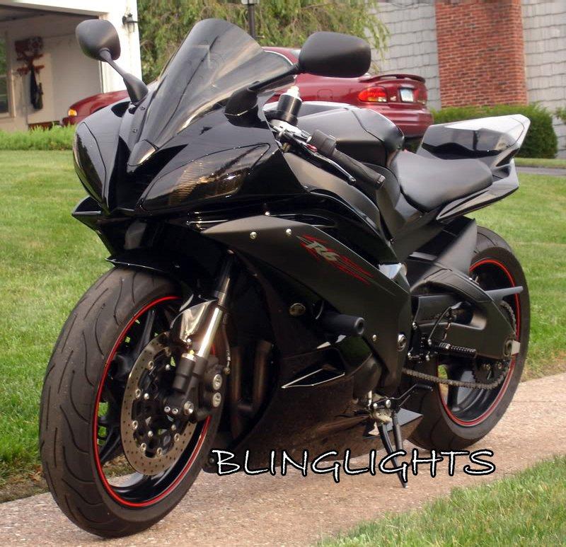 2001 2002 Yamaha R6 YZF-R6 Tinted Smoked Protection Overlays for Headlamps Headlights Head Lamps