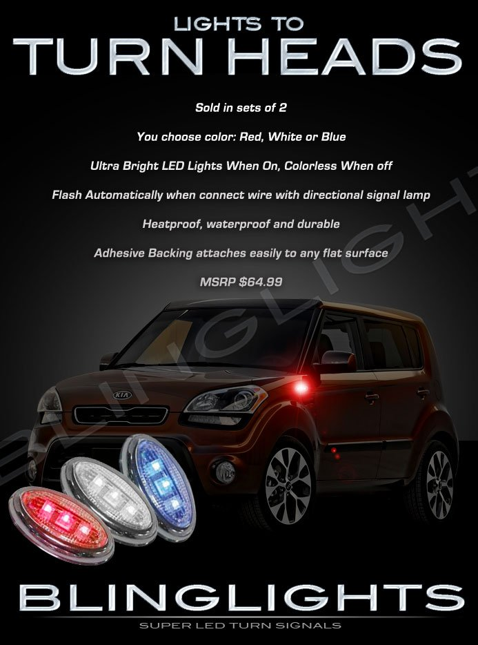 Kia Soul LED Side Accent Markers Turnsignals Lights Turn Signals Lamps Signalers Kit