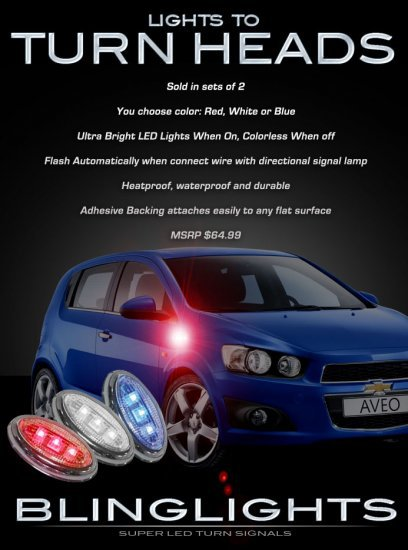 Daewoo Gentra LED Side Accents Turnsignals Lights Turn Signals Accents Signalers Lamps