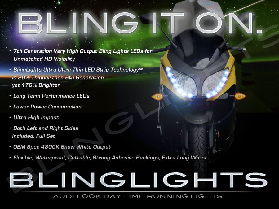 Yamaha TMAX LED DRL Light Strips for Headlamps Headlights Head Lamps Day Time Running Strip Lights