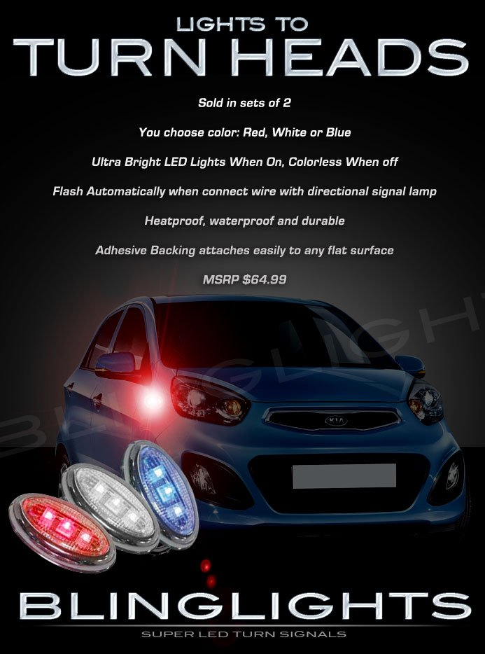 Kia Picanto LED Side Markers Turnsignals Lights Accents Turn Signals Lamps Signalers Blinkers