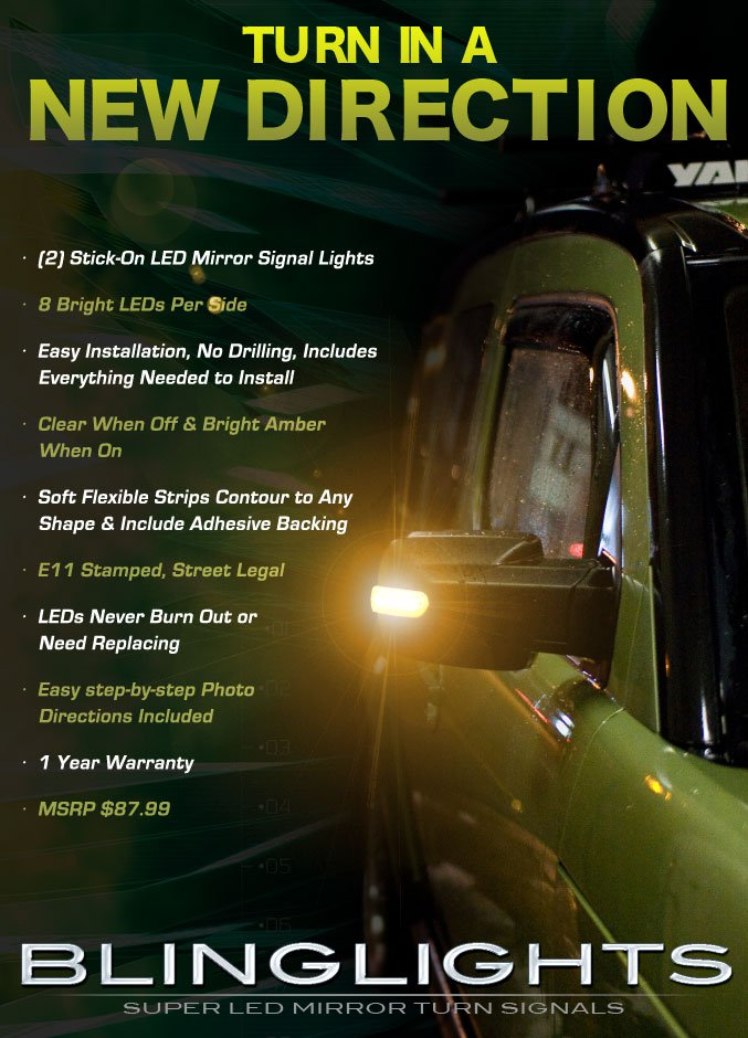 Toyota FJ Cruiser LED Side Mirrors Accents Turnsignals Lights Turn Signals Lamps Mirror Signalers